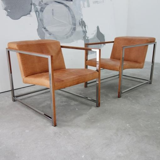 unique giuseppe vigano chrome lounge chairs