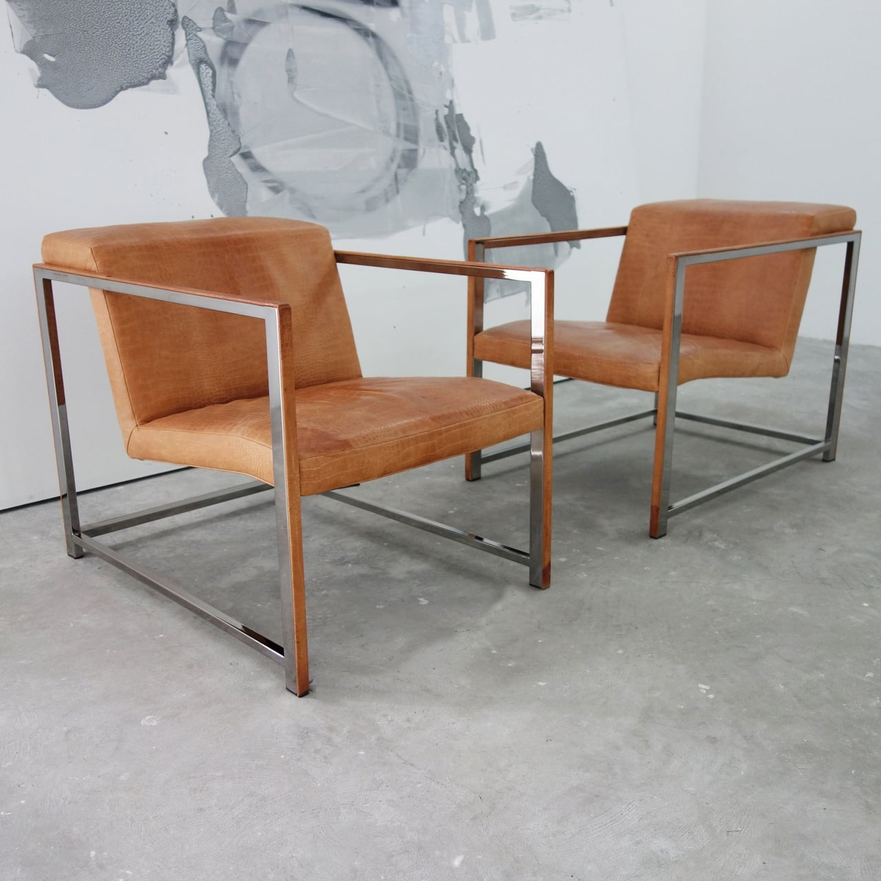 Pair Of Chrome Lounge Chairs By Giuseppe Vigano Bar And Restaurant Furniture The Workshop Co Op